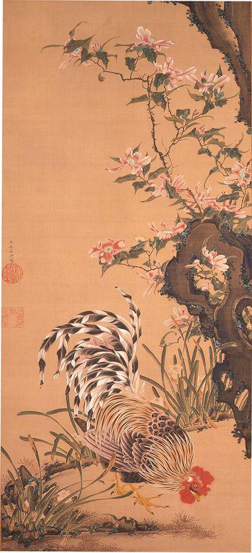 伊藤若冲 「花卉雄鶏図」 江戸時代中期