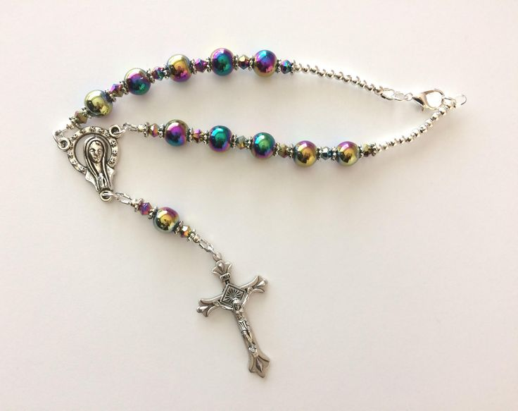 Colorful Car Rosary, Hanging Chaplet for Car, St. Christopher Car Chaplet, Divine Mercy Chaplet, Madonna Chaplet, Colorful Bead Chaplet by RosariestoCherish on Etsy