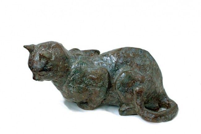 CHAT SOMNOLENT (Sculpture),  26 cm par Danièle Dekeyser CHAT SOMNOLENT bronze 26 cm