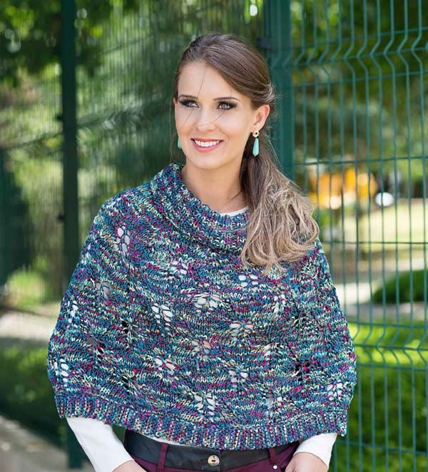 Receitas de Trico e Croche: Pelerine Mesclada – Fio Cisne Carnival