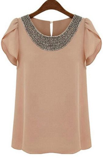 Online shopping for Pink Round Neck With Bead Chiffon Blouse from a great selection of women's fashion clothing & more at MakeMeChic.COM.