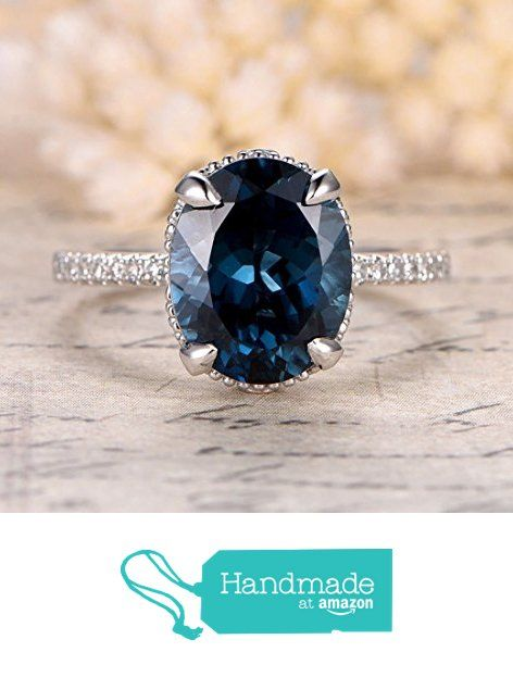 Oval London Blue Topaz Engagement Ring Migrain Under Gallery 14K White Gold 9x11mm from the Lord of Gem Rings https://www.amazon.com/dp/B01H2WRAVA/ref=hnd_sw_r_pi_awdo_zzvEzb69V4BTF #handmadeatamazon