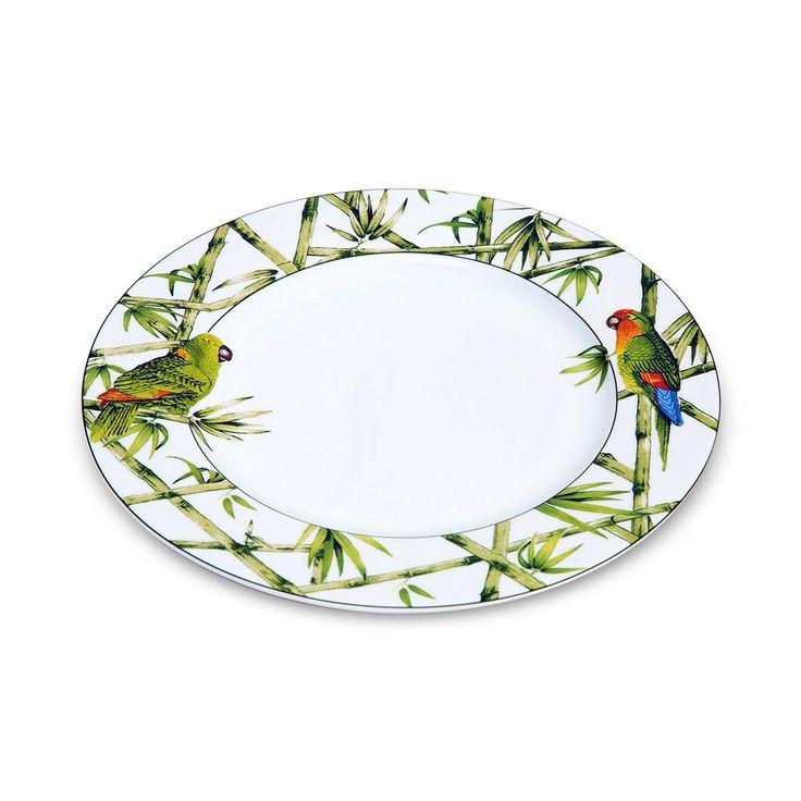 Prato raso parrots em porcelana 27 cm unidade