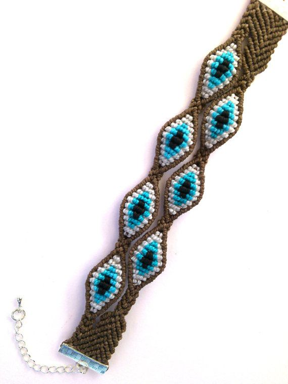 Macrame Bracelet/Evil Eye/Micromacrame Jewelry/Double by MACRANI