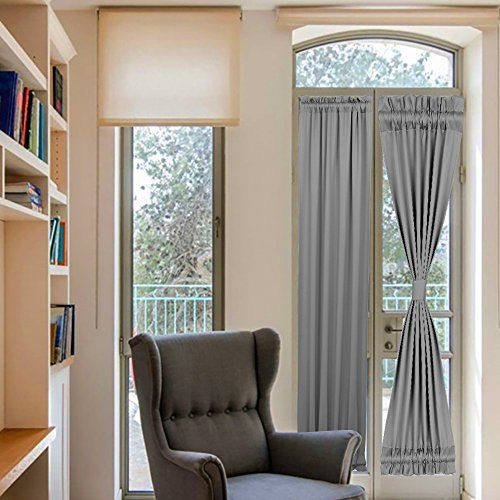 French Door Curtains Grey Rod Pocket Sidelight For Front With Tieback Darkening One Panel Blackout 25x72 Inch