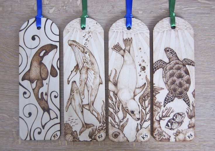 Sea life pyrography bookmarks by ~BlueMidna on deviantART