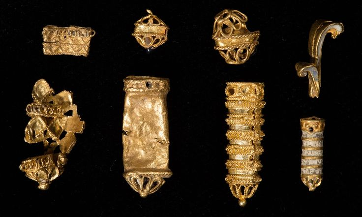Small gold items discovered over several years by eight different metal detectorists may all be from a 16th-century hat