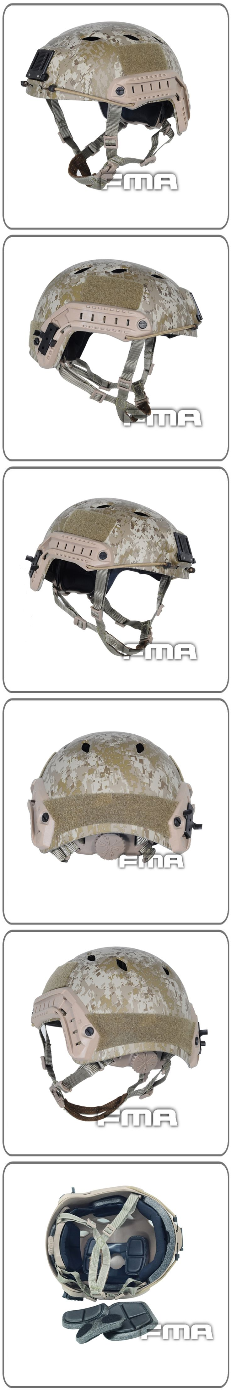 FMA Military Desert Tactical Accessories Army Combat Skydiving Quick Response Head Protector Helmet Free Shipping