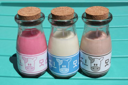 Lon Lon Milk Candles by Geek Studio Available in Original Vanilla, Chocolate Milk, and Strawberry Milk.