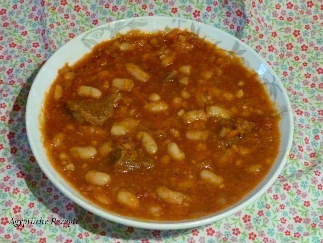 Ägyptisches Original-Rezept für weisse (weiße) Bohnen in Tomatensoße- wahlweise vegan zubereitet oder mit Fleisch