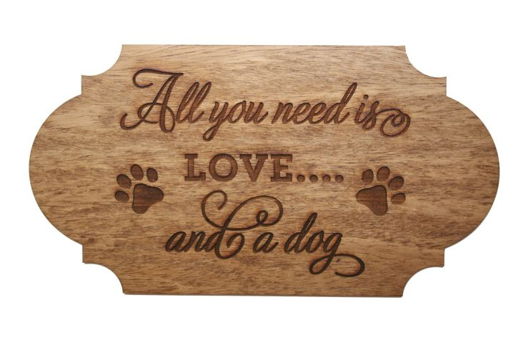 Wood Dog Love Sign, Engraved Rustic, Home Decoration