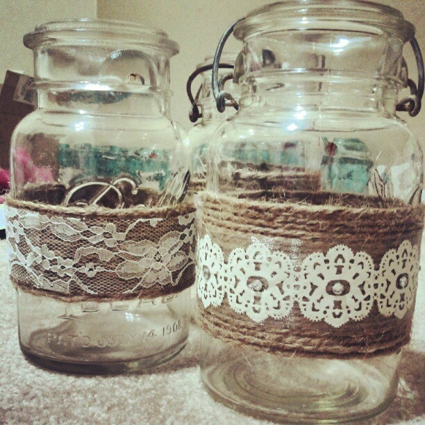 More of my mason jar centerpieces with lace and twine.