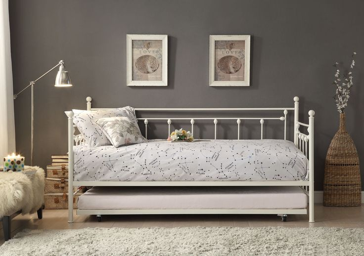 Lorena Metal Daybed with Trundle 4965W-NTClassically styled for your traditional home, the Lorena Collection is offered in a white finish with accenting finials and turned metal connectors that complete the look of this daybed. The metal trundle provides additional sleep space to fit your needs.Features:Lorena CollectionContemporary StyleDimensions:Daybed: 82.5 x 42 x 42HTrundle: 76.75 x 41 x 4.25Hs.b