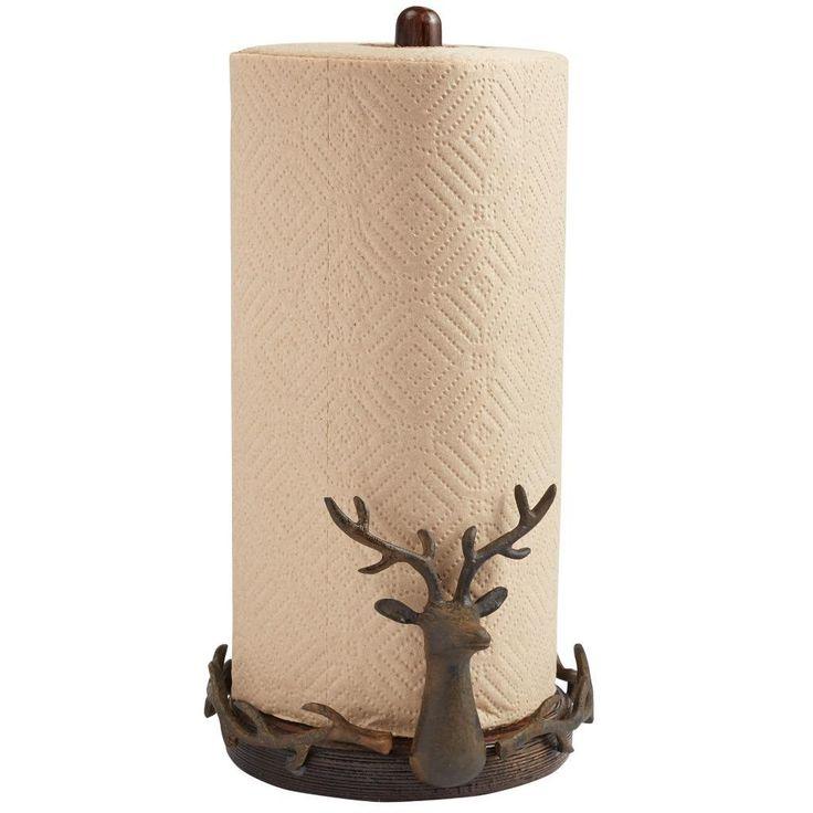 Mud Pie Rustic Lodge Collection Christmas Reindeer Paper Towel Holder