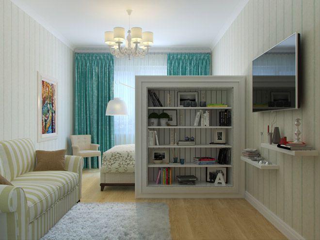 Гостиная. Интерьер однокомнатной квартиры в стиле прованс на ул.Савушкина