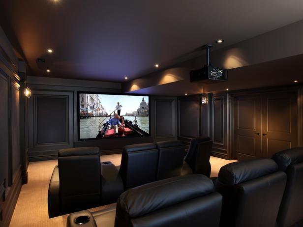 Home Theater - love the wall detail