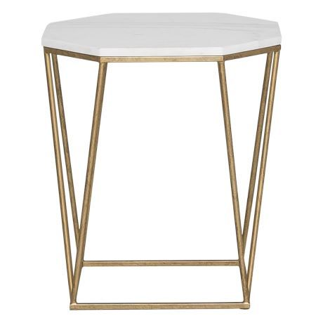 NOHO octagonal occasional table in marble & gold colour
