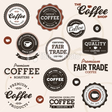 Vintage coffee labels Royalty Free Stock Vector Art Illustration