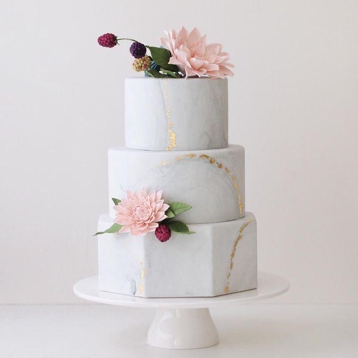 www.sugarlipscakes.com    Marble Wedding Cake    Metallic Wedding Cake    Hexagon (Marble Cake)