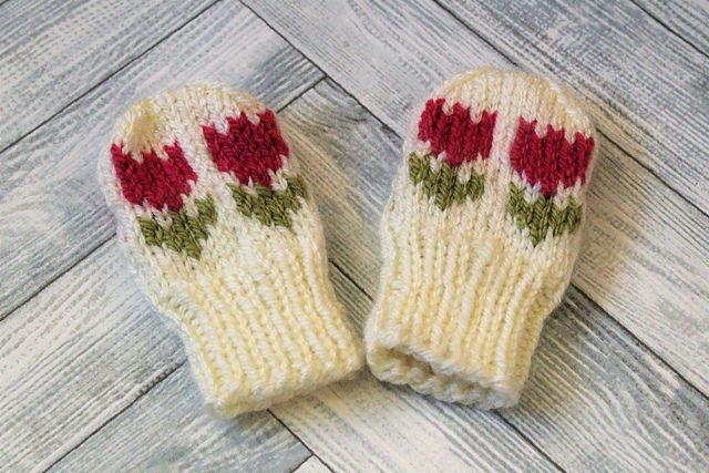 Ravelry: Tiptoe Through The Tulips Baby Mittens pattern by Knitwit Moonbeams