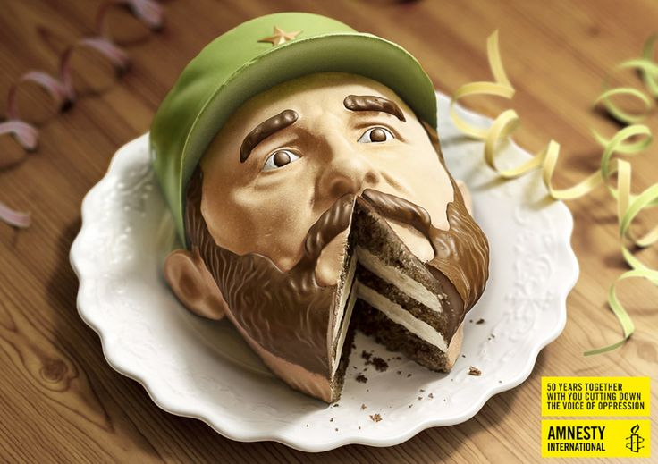 amnesty international campaign silences dictators in cake.
