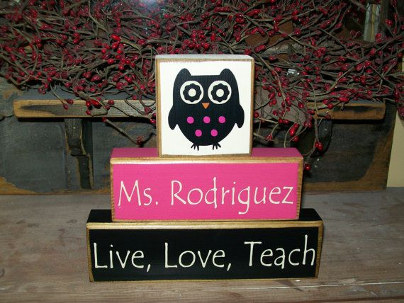 Teacher Appreciation Gift...Owl OR Apple themed 3 Piece Wood Sign Blocks Personalized Primitive Sign Blocks Distressed Stacking Blocks