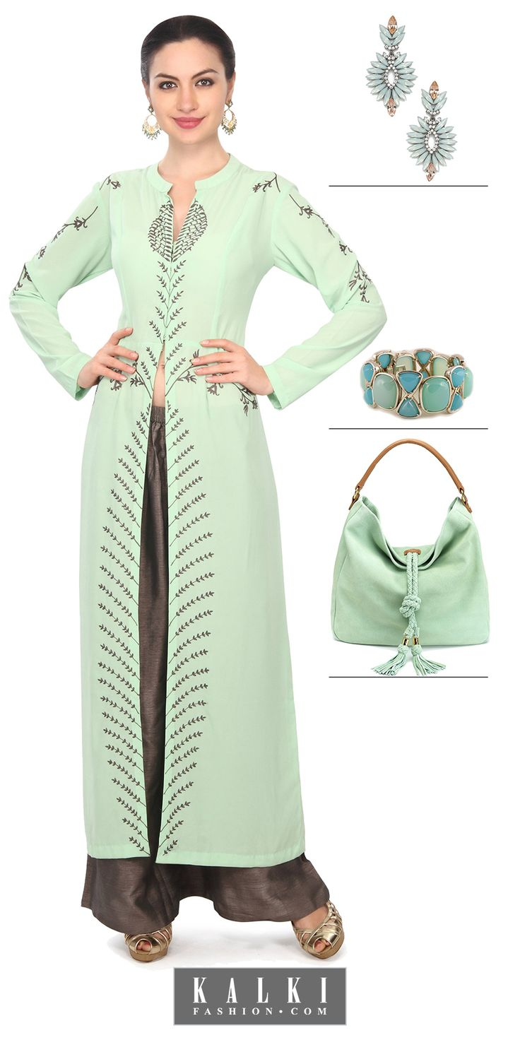 Set yourself free from the dupattas and dress up in this adorning pista green suit with resham embroidery