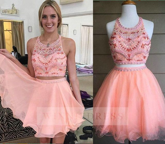 Pretty A-line Halter Tulle Short Pink Cocktail Party Two Piece Prom Dress with Rhinestones/Crystal WNHD0719