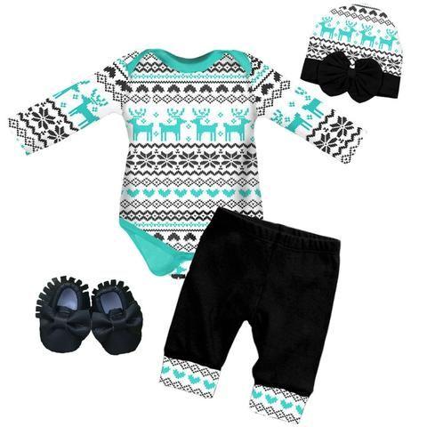Black Aztec Outfit Teal Deer Onesie And Pants