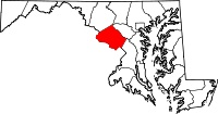 Map of Maryland highlighting Montgomery County