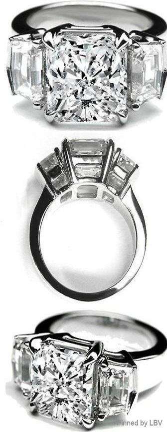 Large Cushion Cut Diamond Ring Cadillac Step cut Side Stones