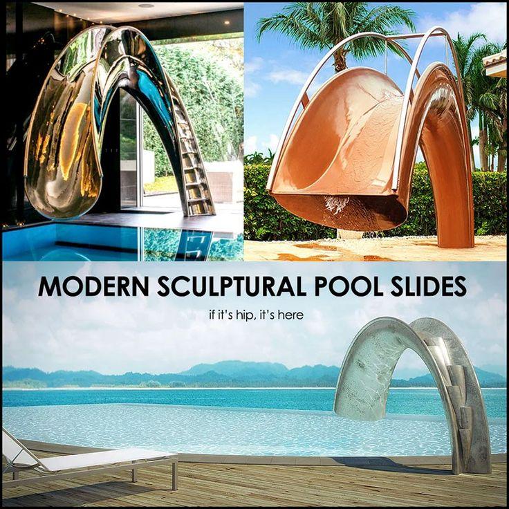 Splinterworks custom luxury pool slides, the Resin Shoot slide and the Stainless Steel Reflex slide are functional sculptures for indoor or outdoor pools.