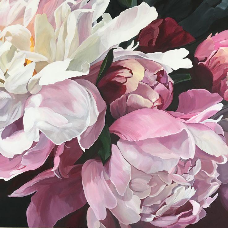 'Adele' pink and white peonies Original painting 101 x 101cm