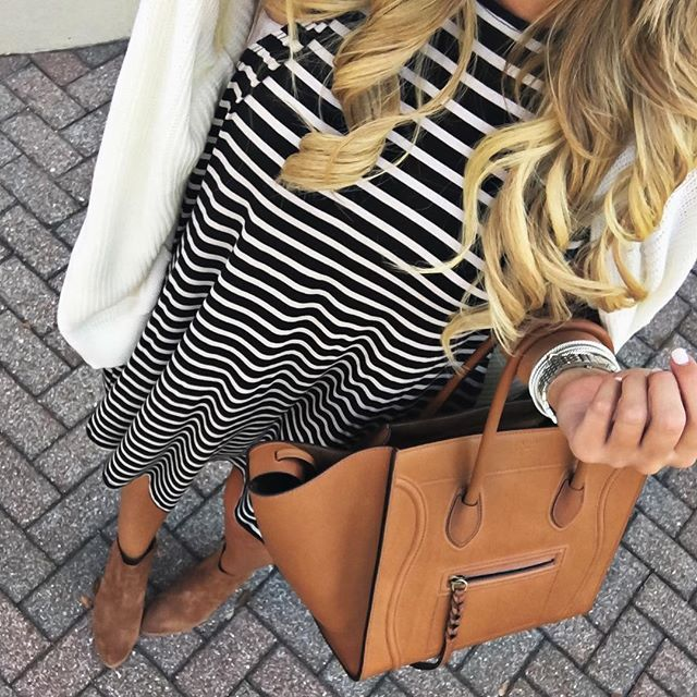A stripe dress and a easy cardigan because it's Friday Eve!  Shop this early fall look here http://liketk.it/2p49M #liketkit @liketoknow.it #ootd #wiw #fallfashion