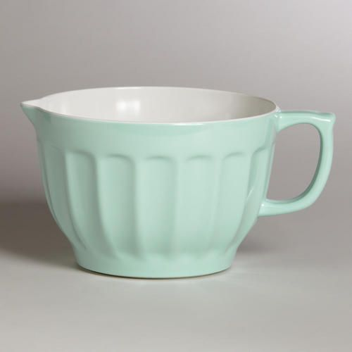 "Mint Melamine Batter Bowl from World Market is a sweet gift paired with the retro hand mixer/beater in mint color.  Pinterest is looking for boards to help shoppers find gifts in a special category.   This is perfect for ""those shopping for a retro girl""."