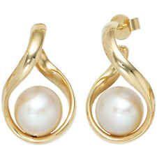 Halbcreolen 585 Gold Gelbgold 2 Süßwasser Perlen Ohrringe Creolen