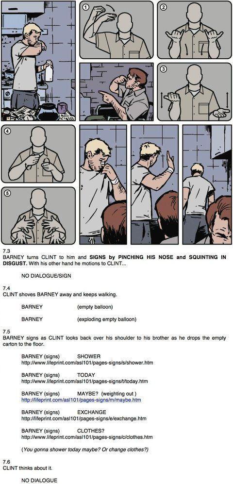 Hawkeye Sign Language A edição #19 da revista Hawkeye substituirá os balões de fala por linguagem de sinais