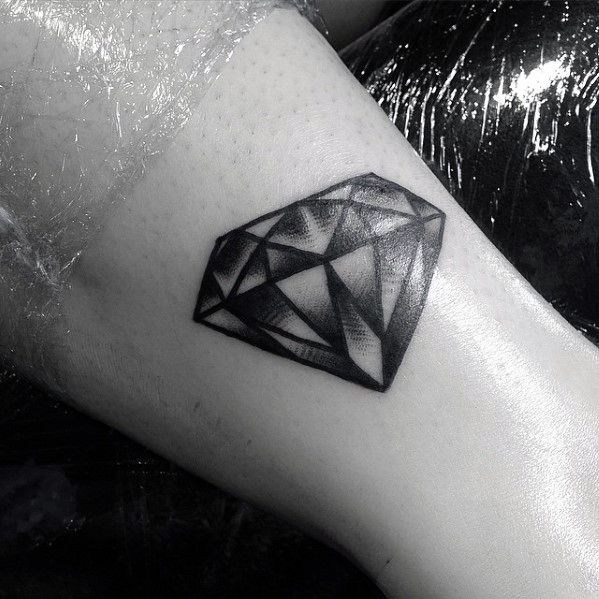 Guys Shaded Black And Grey Small Traditional Diamond Tattoo Design On Forearm