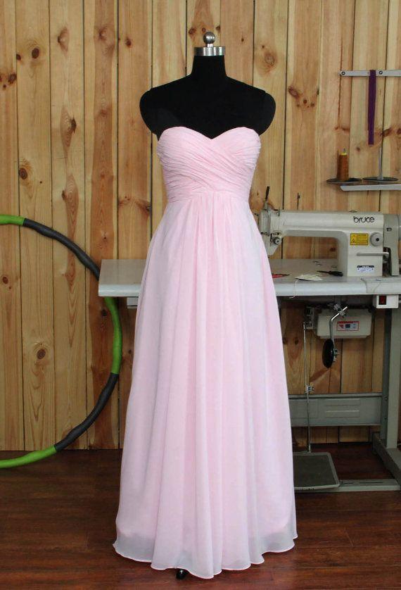 Pale Pink Bridesmaid dress Chiffon Wedding dress by Dressesall4you