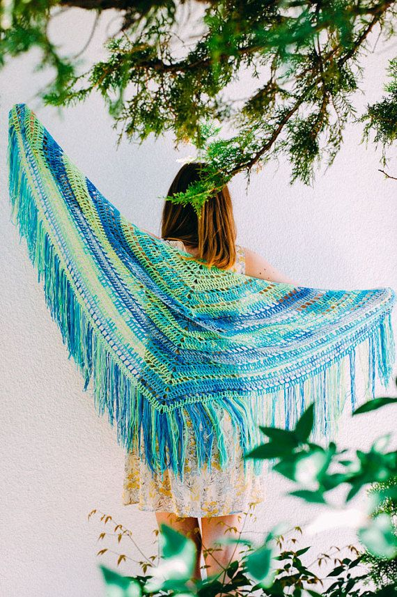 Crochet Green Blue Triangle Boho Shawl. by AnnaHandmadeknitwear