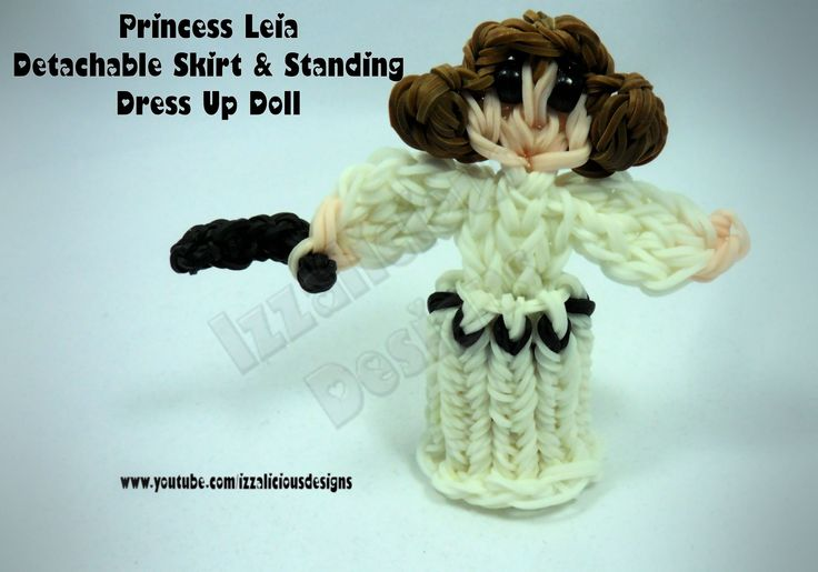 Rainbow Loom Princess Leia Charm/Action Figure - Detachable Skirt and Stand Alone Dress Up Doll tutorial by Izzalicious Designs