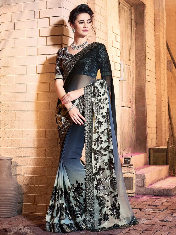 Black Grey Chiffon Saree