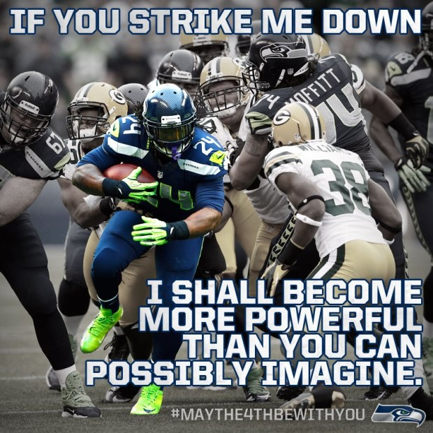 marshawn lynch with a bag of skittles is more powerful