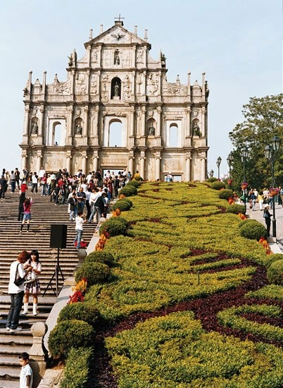 Carved by Japanese Jesuits exiled to Macau, the facade of the seventeenth-century Cathedral of St. Paul is all that remains of the Portuguese edifice.