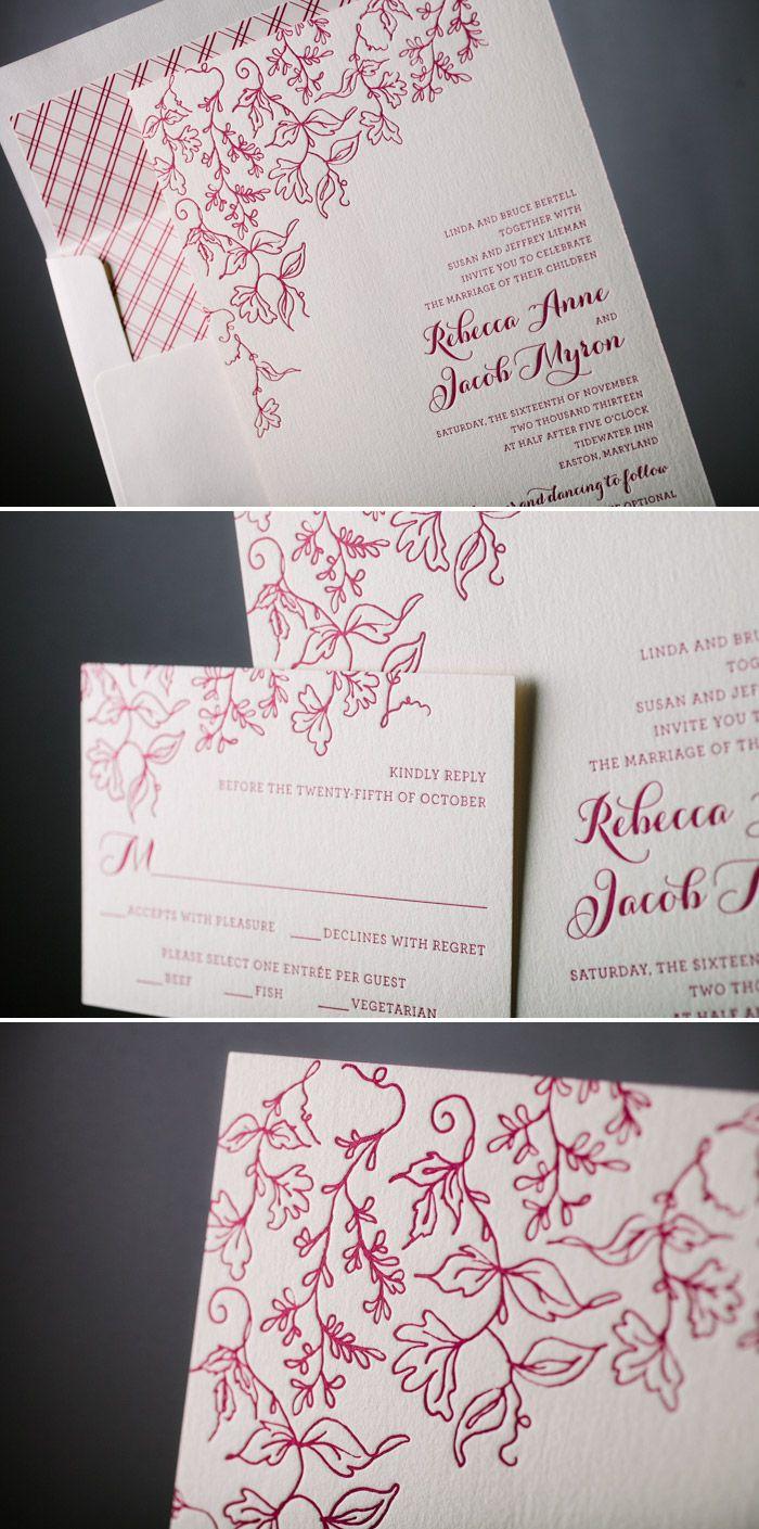 Romantic Vintage Floral letterpress wedding invitations by