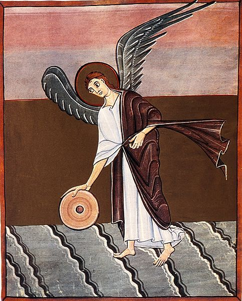 The Angel With A Millstone, the Bamberg Apocalypse, Folio 46, Staatsbibliothek, Bamberg, Germany (c. 1000)