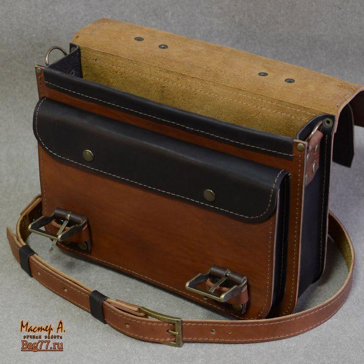 двухцветный кожаный портфель в интересной цветовой гамме