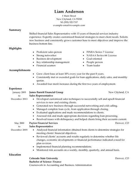 best sales representative resume example livecareer executive sample
