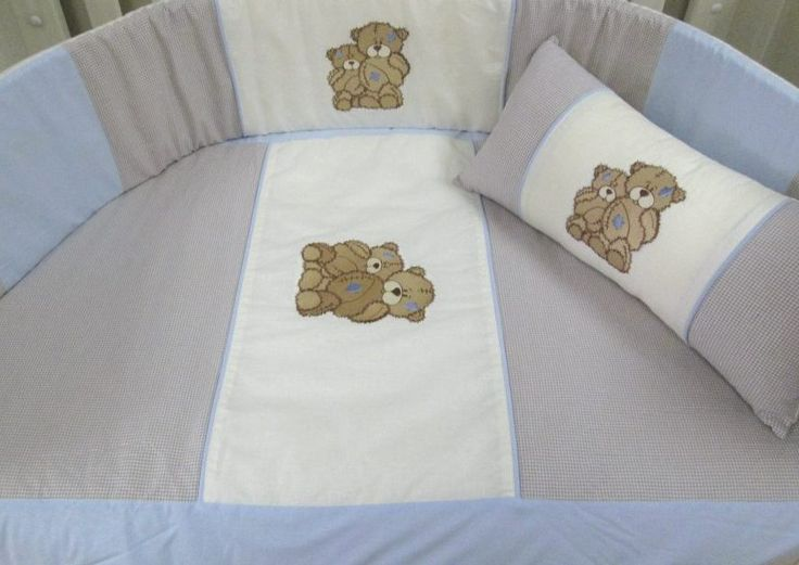 Scruffy bear baby linen - quilt set beautifully handcrafted in 100% cotton chambray. Made to fit cot mattress size 1.3m x 66cm.  Made to order:  orders@borderboutique.co.za