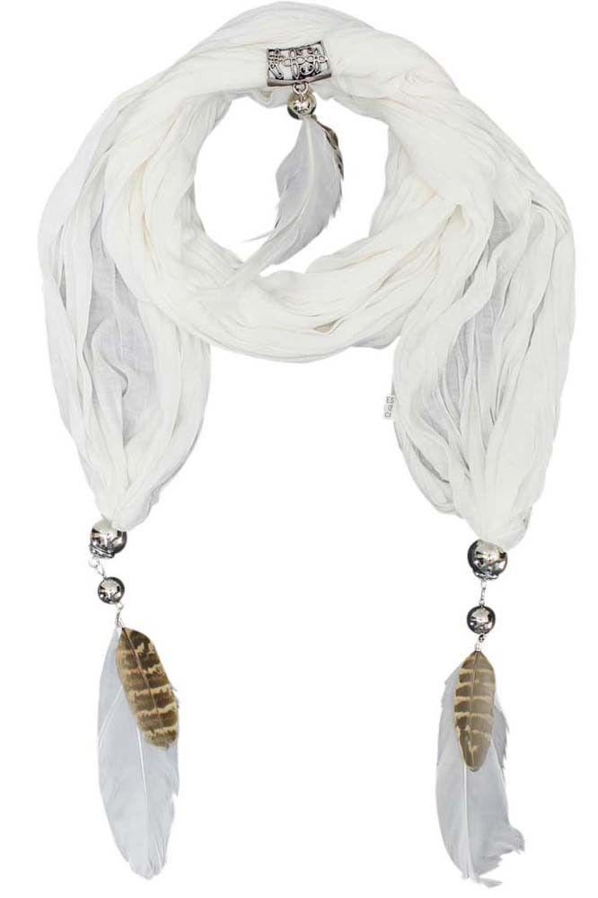 Necklace scarves are what everyone is talking about. Be one of the first to own one of these new fashion staples. This scarf has a crinkled design and is accented with high polish silver tone hardware